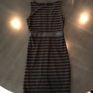 Alice and Olivia brown and black fitted dress